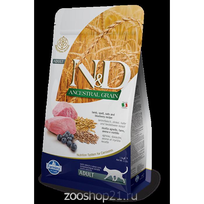 Корм Farmina N&D (Low Grain) Lamb & Blueberry Adult для кошек с низким содержанием зерна ягненок с черникой, 1.5 кг